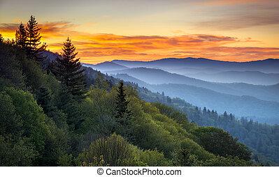 산, 멋진, 너그러이 봐 주다, cherokee, 무대의, 연기가 자욱한, nc, 공원, gatlinburg, tn, 해돋이, 사이의, oconaluftee, 한 나라를 상징하는, 조경술을 써서 녹화하다