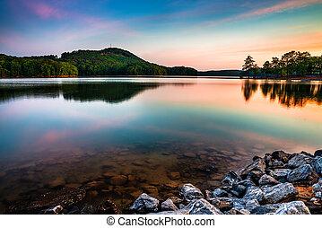 산, 북쪽, 정상, 공원, 호수, allatoona, 상태, 빨강, 애틀란타, 해돋이