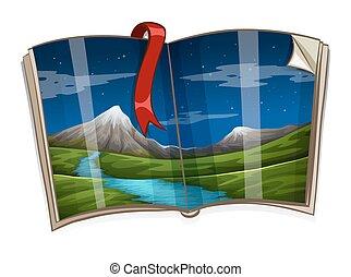 산, 책, 장면