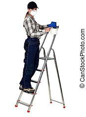 살포 화가, 총, 여성, ladder.