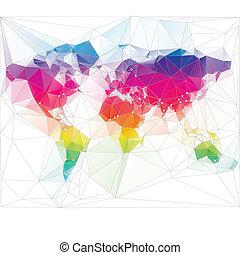삼각형, 세계, 디자인, 착색되는, 지도