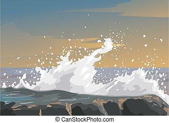 삽화, 거칠게 굴다, 감정, 은유, 바위, 파도