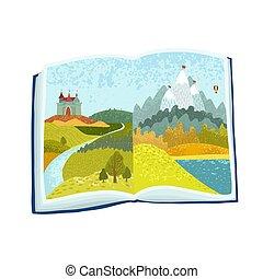 삽화, 굉장한, 책, 그림, 열려라