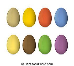 삽화, 달걀, eps10., 다채로운, 실감나는, 벡터, 부활절, set.