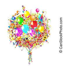 삽화, 생일, 디자인, 기구, 너의, 행복하다