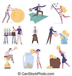 삽화, 전략, 재정, 사업, 저금, 특성, 투자, concept., 성장, 벡터, set., 저금, 저축 돈, 투자, 쿠션, 유동성, 사람, 재정