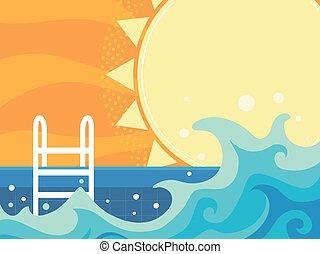 삽화, 파도, 웅덩이, 여름, 판자