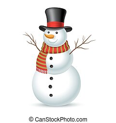 삽화, snowman., 벡터, 크리스마스