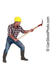 삽, 건설 직원
