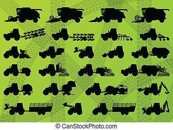 상술된다, 은 결합한다, 산업의, 트럭, 수확기, 트랙터, 삽화, 장비, 실루엣, 벡터, 굴착기, 수집, 배경, 경작, 농업