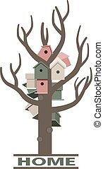 상자, 나무, 중첩, 카드