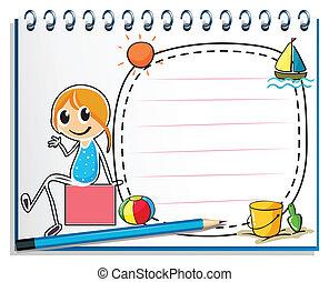 상자, 연필, 착석, 심상, 삽화, 노트북, 배경, 소녀, 백색