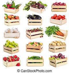 상자, 장과, 과일, 야채, 멍청한, 세트