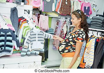 상점, 여자, 나이 적은 편의, 임신하고 있다