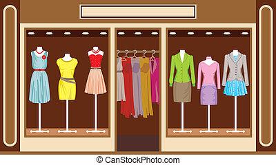 상점, boutique., 의류, 여성