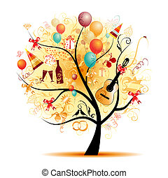 상징, 나무, 행복하다, 축하, 휴일, 혼자서 젓는 길쭉한 보트