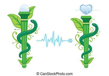 상징, 대안, asklepian, -, 녹색, 의학