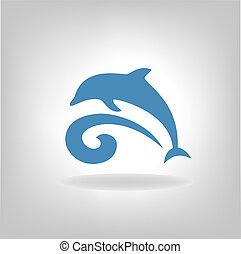 상징, 바다, 위의, 돌고래