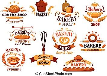 상징, 빵집, bread, 배너, 또는