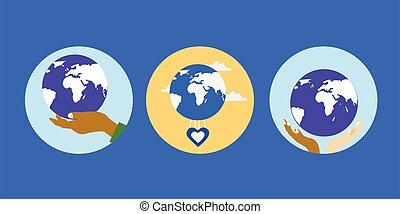 상징, 심장, 손, 지구, 고국, 인간, 전시, 사랑, 우리