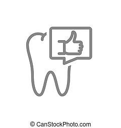 상징, 정렬, 연설, icon., 내복하는, 엄지손가락, 이, 공동, 거품, 기관, 건강한