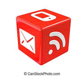 상징, 통신, 입방체, 빨강, 3차원