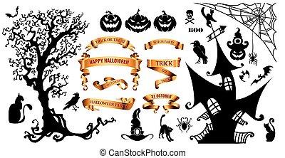 상징, 휴일, halloween, 배경, 행복하다