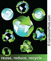 상징, eco, 녹색, 생물, 은 재생한다
