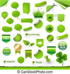 상표, 크게, 세트, 녹색