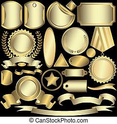 상표, 황금, (vector), 세트, 은이다