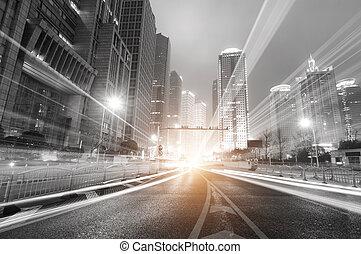 상해, 밤, 재정, 현대, 배경, 지역, 도시, 무역, lujiazui, &