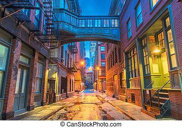 새로운, alleyways, 요크, 도시