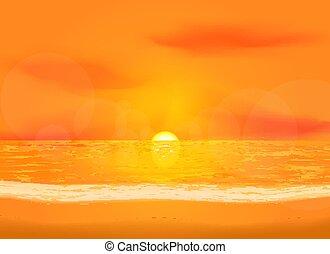 새벽, 바다, 조용함, 배경, 보이는 상태