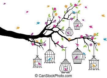 새장, 나무, 새