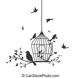 새, 다채로운, 나무