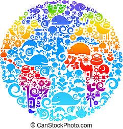 새, 만든, 동물, 아우트라인, 아이콘, 지구, 꽃