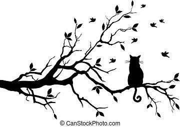 새, 벡터, 나무, 고양이