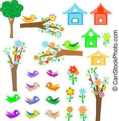 새, birdhouses, 세트, 나무