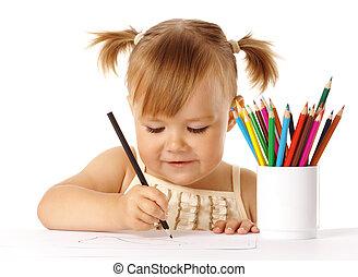 색, 귀여운, 끌기, 아이, 연필