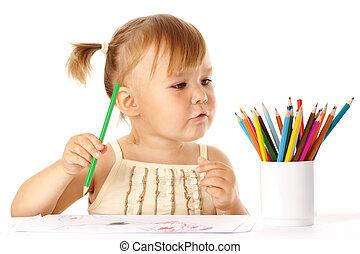 색, 귀여운, 놀이, 아이, 연필