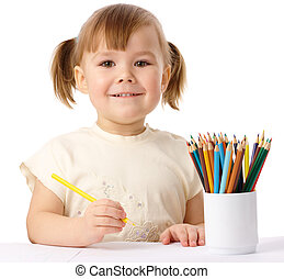 색, 귀여운, 아이, 끌기, 연필