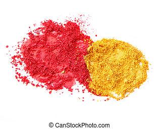색, 빨간 황색, 가루