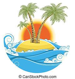 색, 상징, 열대적인, 태양 배경, 고립된, island., 벡터, 바다 경치, 백색