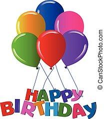 색, 생일, 기구, 생생한, 행복하다