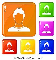 색, 세트, 사용자, 아이콘