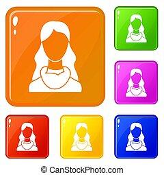 색, 여자, 세트, 아이콘