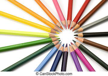 색, 연필, 광선