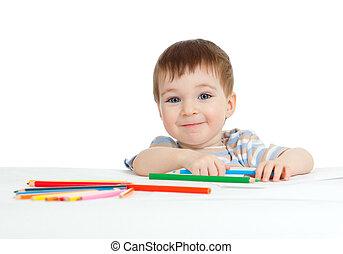 색, 연필, 미소, 그림, 아이