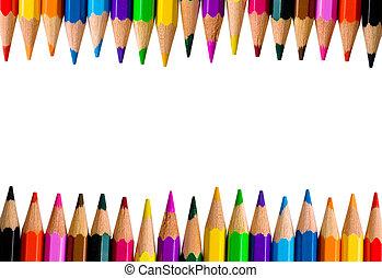 색, 연필, 밝은, 은