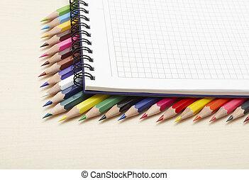 색, 연필, 세트, 메모장, 나선
